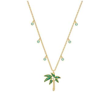Swarovski Swarovski Lime Palm Tree Necklace, Multi-colored, Gold Plating Light Multi Gold-plated