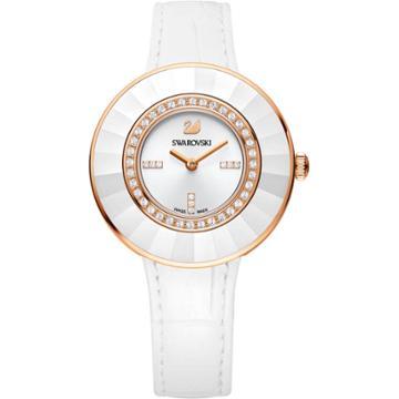 Swarovski Octea Dressy Watch, Leather Strap, White, Rose Gold Tone