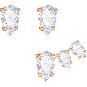 Swarovski Attract Pear Pierced Earring Set, White, Rose Gold Plating