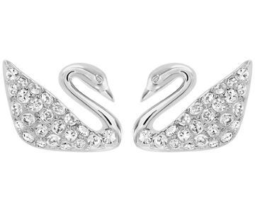 Swarovski Swarovski Swan Pierced Earrings, White, Rhodium Plating White Rhodium-plated