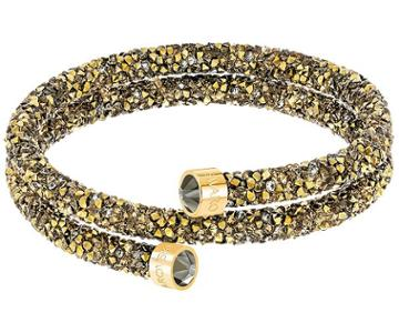 Swarovski Swarovski Crystaldust Double Bangle, Golden, Gold Plating Dark Multi Gold-plated