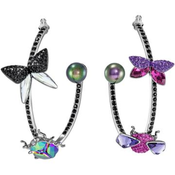 Swarovski Magnetized Hoop Pierced Earrings, Multi-colored, Black Ruthenium Plating