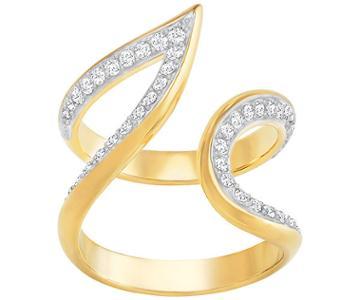 Swarovski Swarovski Groove Wide Ring, White White Gold-plated