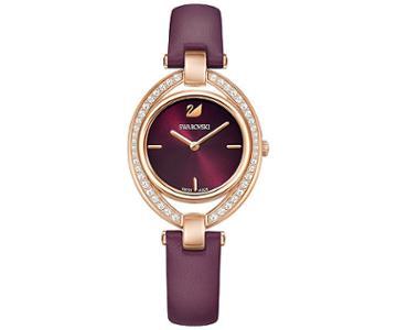 Swarovski Swarovski Stella Watch, Leather Strap, Dark Red, Rose Gold Tone White Rose Gold-plated