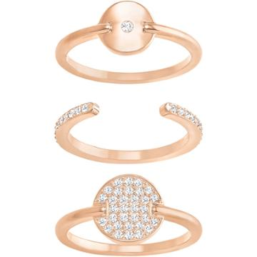 Swarovski Ginger Ring Set, White, Rose Gold Plating