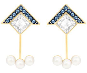 Swarovski Swarovski Golden Pierced Earring Jackets, Blue Light Multi Gold-plated