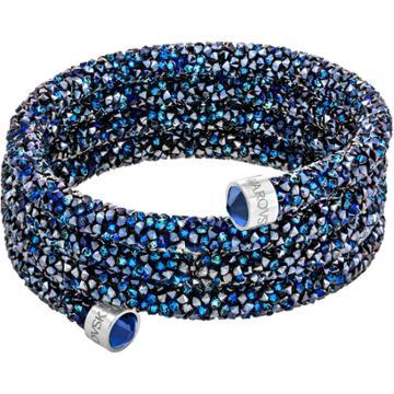 Swarovski Crystaldust Wide Bangle, Blue, Stainless Steel