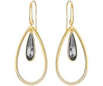 Swarovski Swarovski Lisanne Hoop Pierced Earrings, Gray, Gold Plating Gray Gold-plated