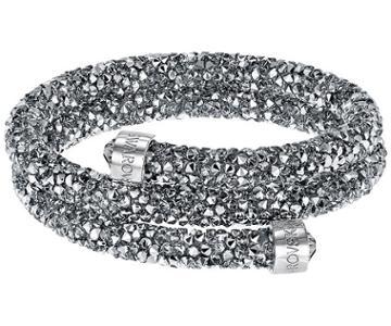 Swarovski Swarovski Crystaldust Double Bangle, Gray, Stainless Steel Gray Stainless Steel