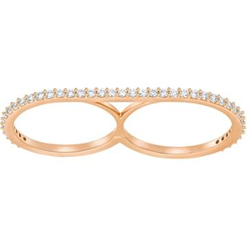 Swarovski Vittore Double Ring, White, Rose Gold Plating