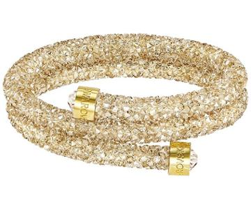 Swarovski Swarovski Crystaldust Double Bangle, Golden, Gold Plating Brown Gold-plated