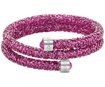 Swarovski Swarovski Crystaldust Double Bangle, Fuchsia, Stainless Steel Pink Stainless Steel