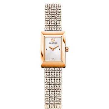 Swarovski Memories Watch, Crystal Mesh Strap, White, Rose Gold Tone