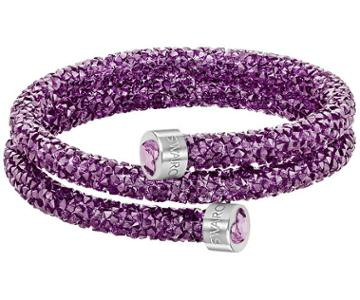 Swarovski Swarovski Crystaldust Heart Double Bangle, Purple Purple Stainless Steel