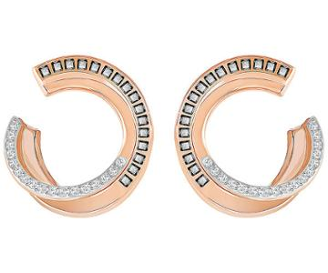 Swarovski Swarovski Hero Pierced Earrings, Gray, Rose Gold Plating Gray Rose Gold-plated