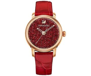 Swarovski Swarovski Crystalline Hours Watch, Leather Strap, Red, Rose Gold Tone Red Rose Gold-plated