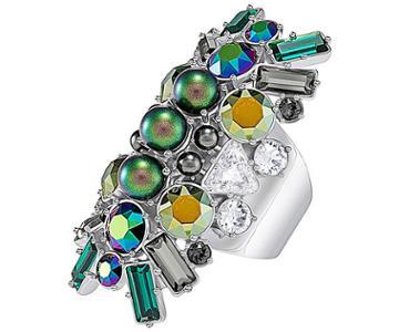 Swarovski Swarovski Helen Ring, Multi-colored, Palladium Plating Dark Multi Rhodium-plated