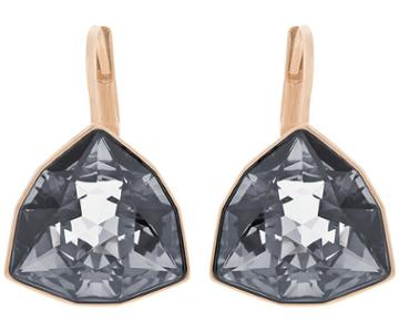 Swarovski Swarovski Brief Pierced Earrings Gray Rose Gold-plated