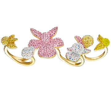 Swarovski Swarovski Light Orchid Open Ring, Multi-colored, Gold Plating Light Multi Gold-plated
