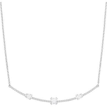 Swarovski Gray Necklace, White, Rhodium Plating