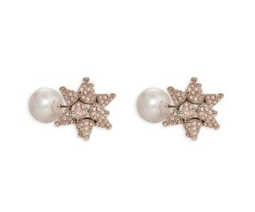 Swarovski Swarovski Kalix Double Stud Pierced Earrings, Palladium Plating Pink Rhodium-plated