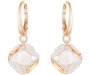 Swarovski Swarovski Heap Square Pierced Earrings, Beige, Rose Gold Plating Light Multi Rose Gold-plated