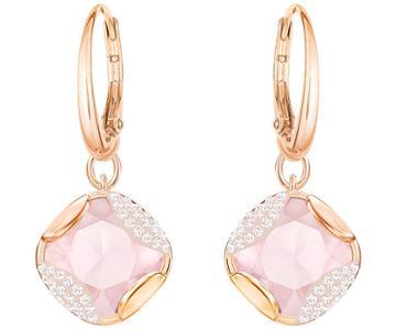 Swarovski Swarovski Heap Square Pierced Earrings, Pink, Rose Gold Plating Pink Rose Gold-plated