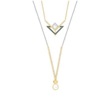 Swarovski Swarovski Golden Necklace Set, Blue Light Multi