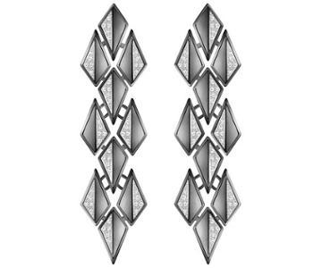 Swarovski Swarovski Ground Pierced Earrings, White, Ruthenium Plating White Rhodium-plated