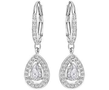 Swarovski Swarovski Attract Light Pear Pierced Earrings, White, Rhodium Plating White Rhodium-plated