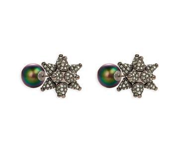 Swarovski Swarovski Kalix Double Stud Pierced Earrings, Gunmetal Plating Green