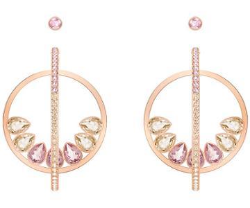 Swarovski Swarovski Lisanne Hoop Pierced Earrings, Multi-colored, Rose Gold Plating Light Multi Rose Gold-plated