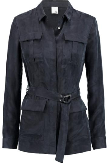 Iris And Ink Military Cupro-blend Blouse