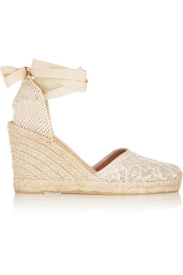 Usd Lace And Mesh Wedge Espadrille Sandals