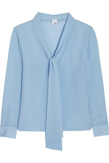Iris And Ink Pussy-bow Silk Crepe De Chine Blouse