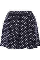 Suno Polka-dot Washed-silk Mini Skirt