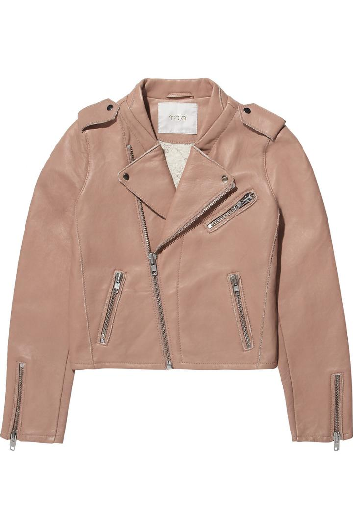 Maje Flac Leather Biker Jacket