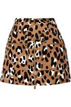 Michael Kors Collection Leopard-print Cotton-satin Mini Skirt