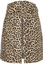 Carven Leopard-print Felted Wool-blend Mini Skirt