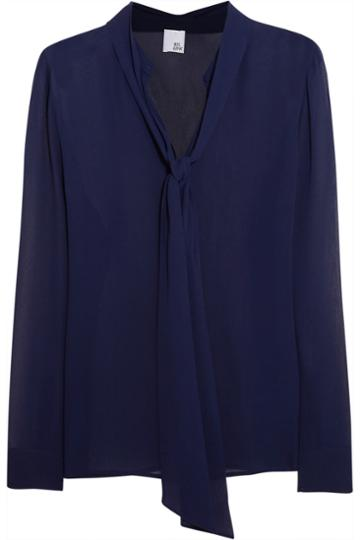 Iris And Ink Pussy-bow Silk-georgette Blouse