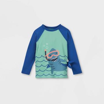 Toddler Boys' Shark Long Sleeve Graphic Rash Guard Swim Shirt - Cat & Jack Blue/aqua