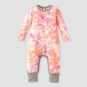 Burt's Bees Baby Baby Girls' Market Miracles Jumpsuit - White 0-3m, Girl's, Pink Orange