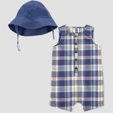 Baby Girls' Plaid Romper With Hat - Just One You Made By Carter's Blue Newborn