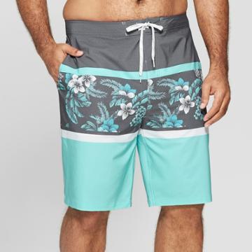 Men's Big & Tall 10 Floral Print Board Shorts - Goodfellow & Co Blue