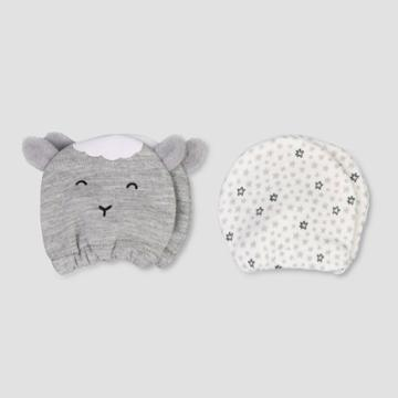 Baby Boys' 2pk Lamb Mittens - Just One You Made By Carter's Gray Newborn, Kids Unisex, Gray White