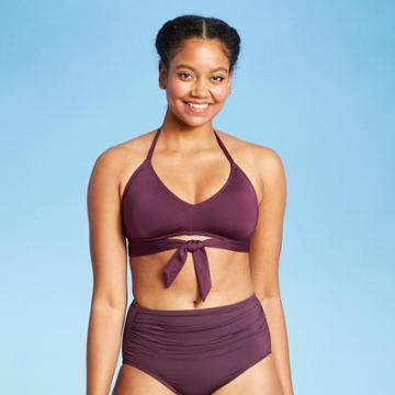 Women's Tie-front Bikini Top - Kona Sol Atlantic Burgundy