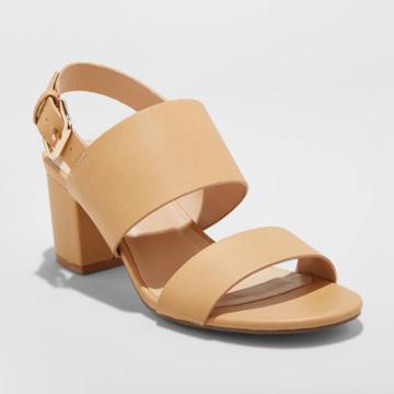 Women's Haley Faux Leather Two Strap City Sandal Pumps - A New Day Tan