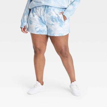 Women's Plus Size Mid-rise French Terry Shorts - All In Motion Teal