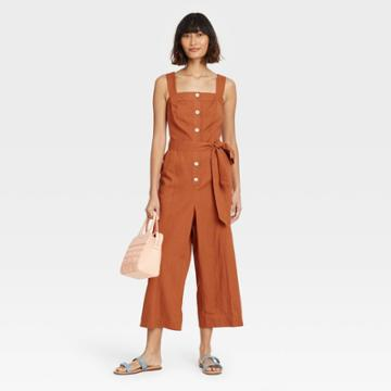Women's Sleeveless Button-front Jumpsuit - A New Day Brown