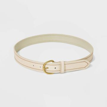 Women's 34 Mm Colored Border Stitched Belt - Universal Thread Bone S, Women's, Size: